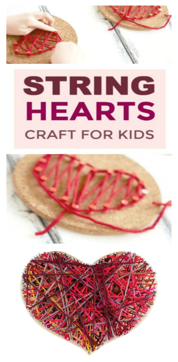FUN KID PROJECT: Make String Hearts!  A beautiful Valentine's craft for kids!  #heartcrafts #valentinescrafts ##valentineskidscrafts #valentinesdaycrafts #valentinesideasforkids #valentinesactivitiesforkids #stringarthearts