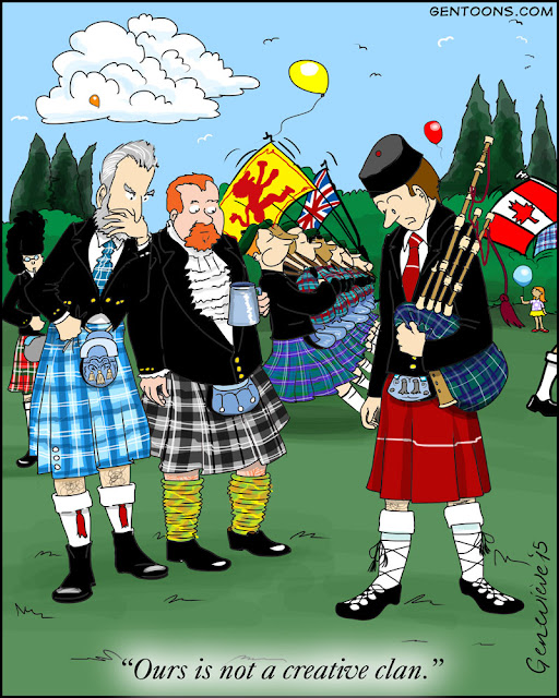 """scottish festival, parading bagpipers and men in many different kilts. one guy has a kilt that's solid red with one horizontal line. he says """"ours is not a creative clan."""""""