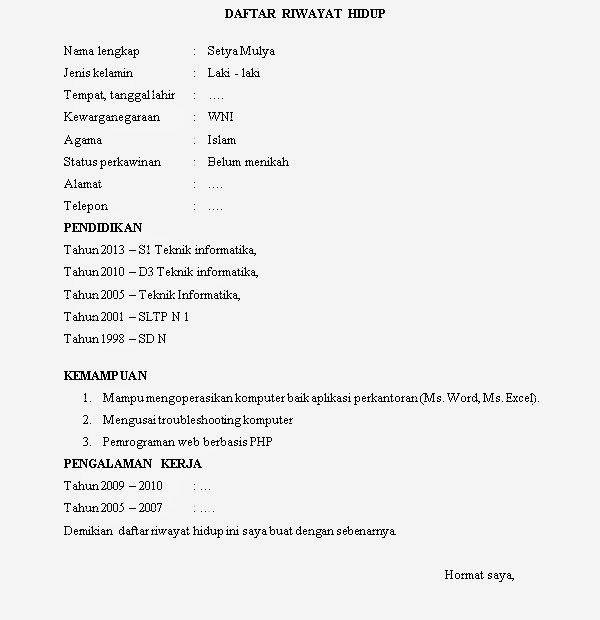 Contoh Curriculum Vitae Customer Service Bank