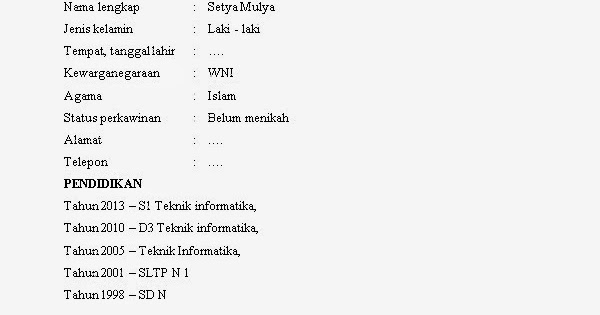 Contoh Daftar Riwayat Hidup D3 Keperawatan Contoh Rom