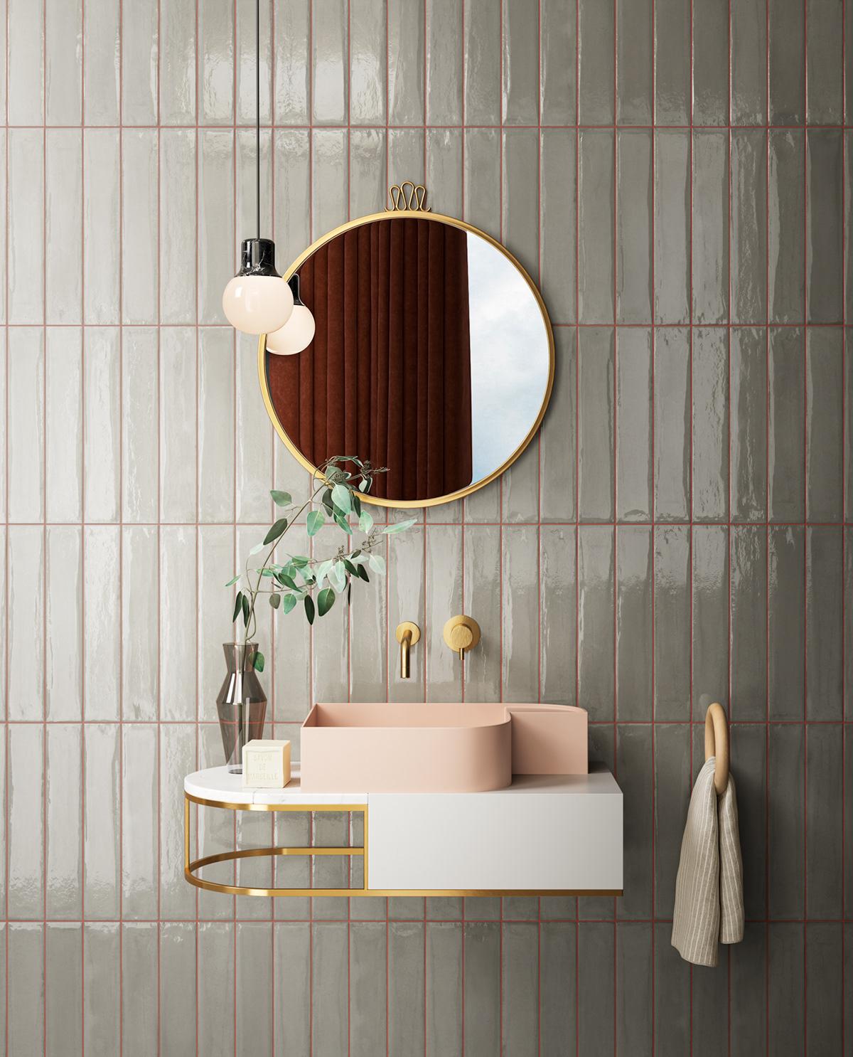 ilaria fatone inspirations - une salle de bains avec lavabo rose et faience verte