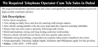 Telephone Operator and Tele sales Executive in Telecom Industry Dubai
