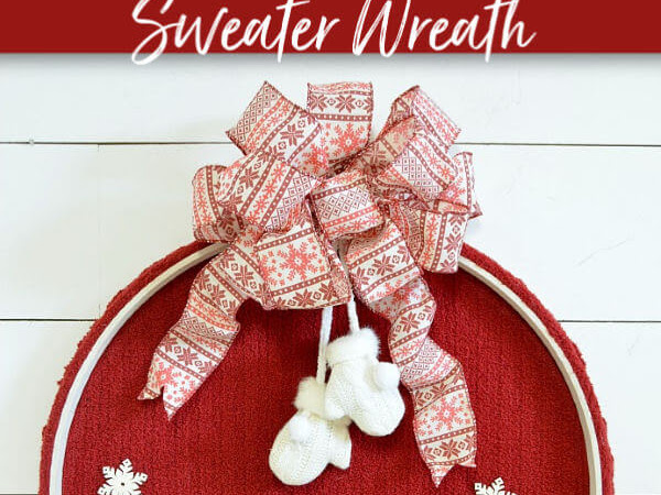 Festive Winter Embroidery Hoop Sweater Wreath