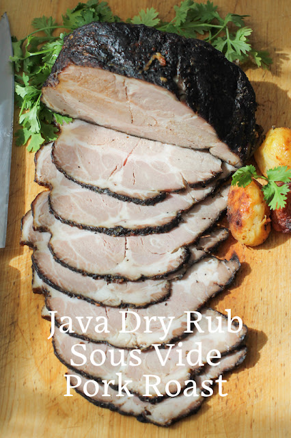 Food Lust People Love: This Java Dry Rub Sous Vide Pork Roast is made with a Boston butt roast, covered in a savory spice blend. It's cooked with a sous vide precision cooker for 18 hours, then finished off in a hot oven, which keeps it tender and juicy. Start this recipe one day ahead of serving time. Yes, it's a long time but most of it is hands-off. Set the sous vide and go about your life.