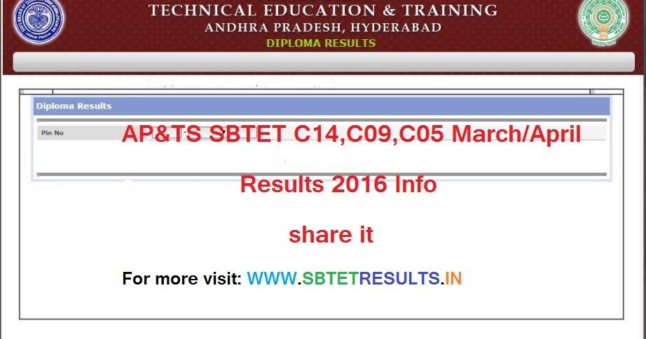 AP&TS SBTET C14,C09,C05 March/April Results 2016 - AP TS