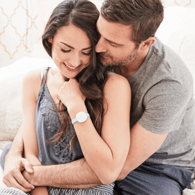 man with woman wearing ava bracelet for tracking