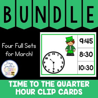 Time to the Quarter Hour Clip Cards March Bundle