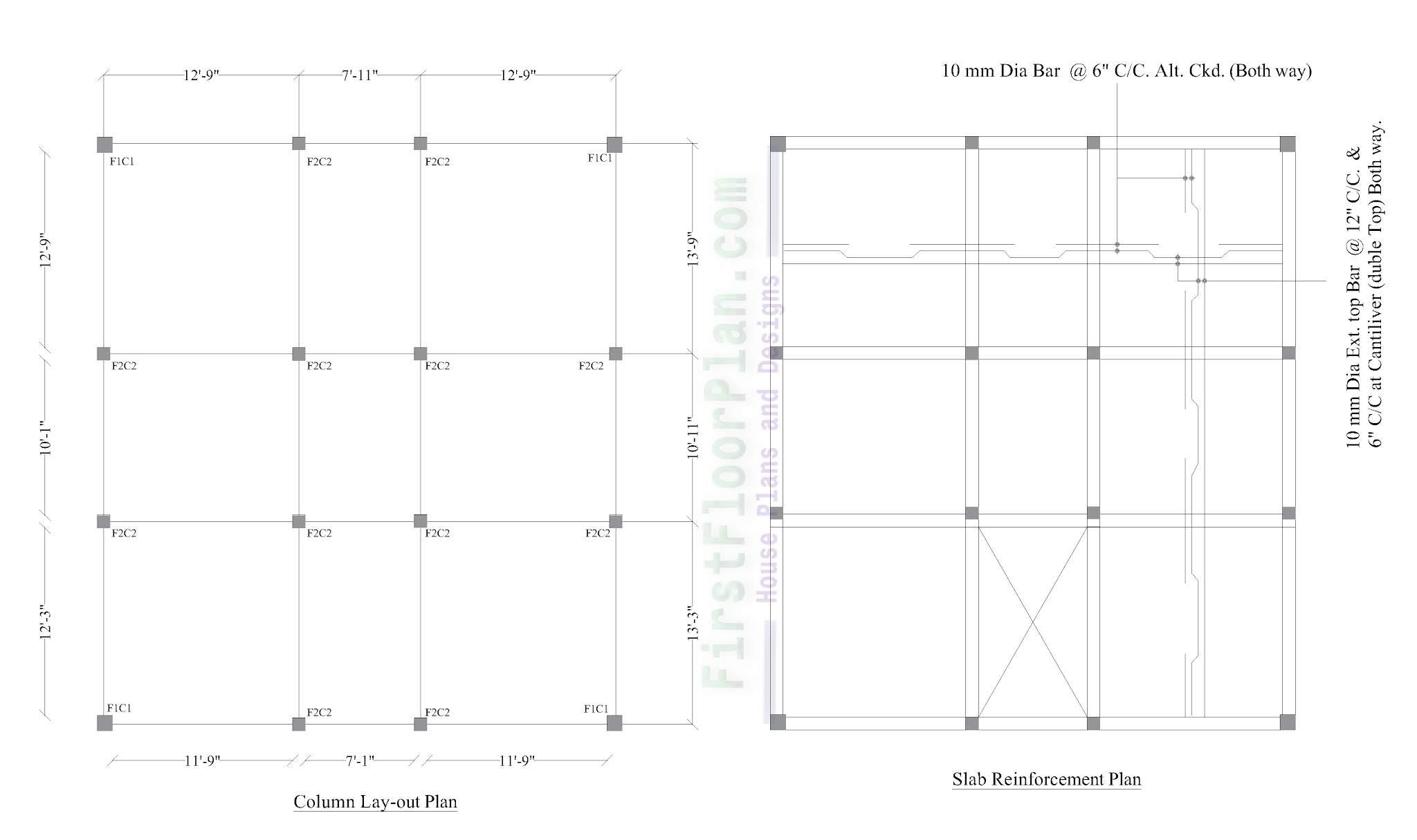 column layout and slab reinforcement details