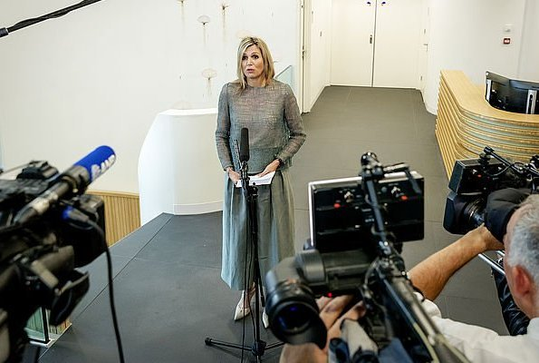 Queen Maxima wore NATAN dress from Spring Summer 2017 Collection, visit to Radiotherapy/Proton Therapy Center of The University Medical Center