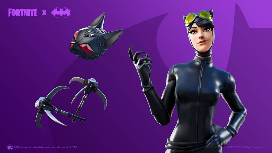 catwoman comic book outfit fortnite x batman crossover event items cosmetics loot ps4 xbox one pc nintendo switch