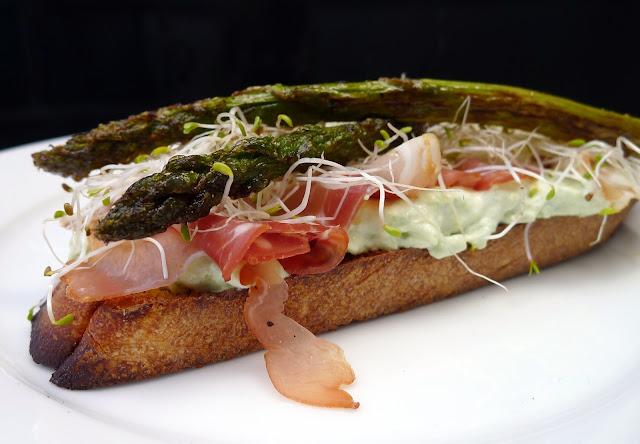 Open Faced Asparagus Serrano Ham Sandwich