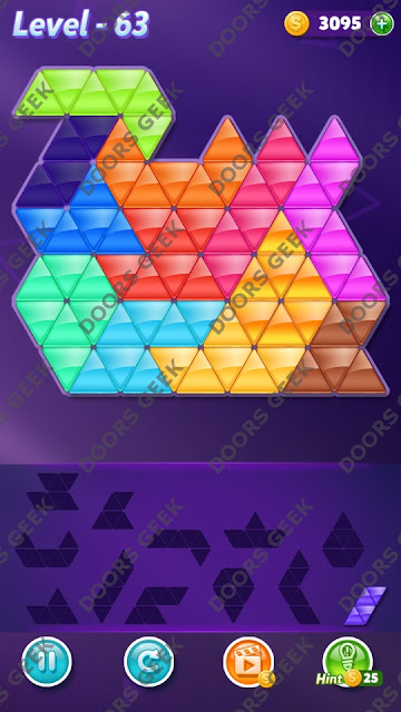 Block! Triangle Puzzle Grandmaster Level 63 Solution, Cheats, Walkthrough for Android, iPhone, iPad and iPod