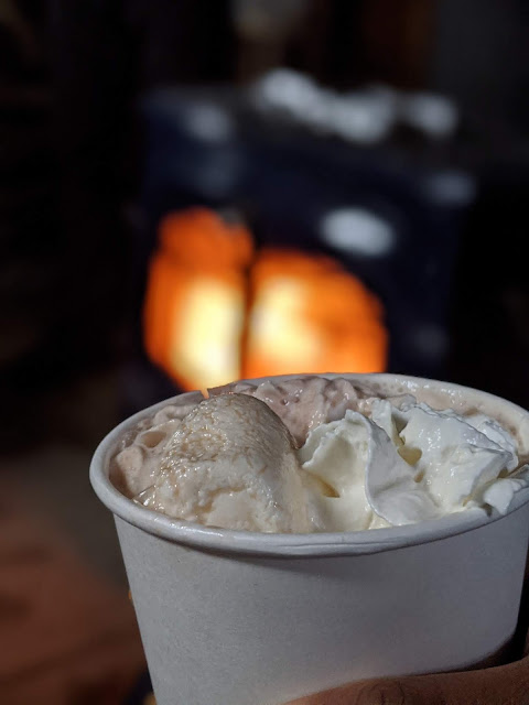 cup of hot chocolate with marshmallows and whipped cream for winter vacation