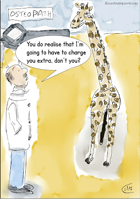 Funny cartoon in which a giraffe visits an osteopath, and has to pay extra...