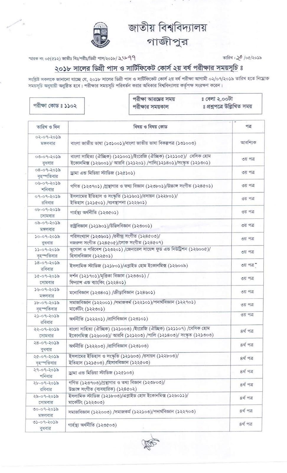Degree 2nd year exam routine 2019