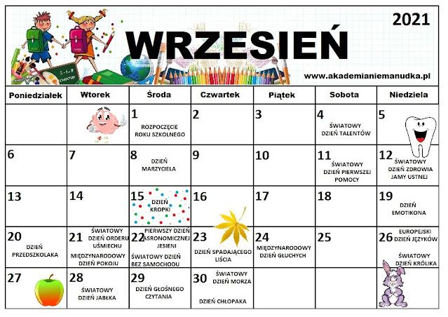 Kalendarz świąt nietypowych dla dzieci na rok szkolny 2021/2022 wrzesień