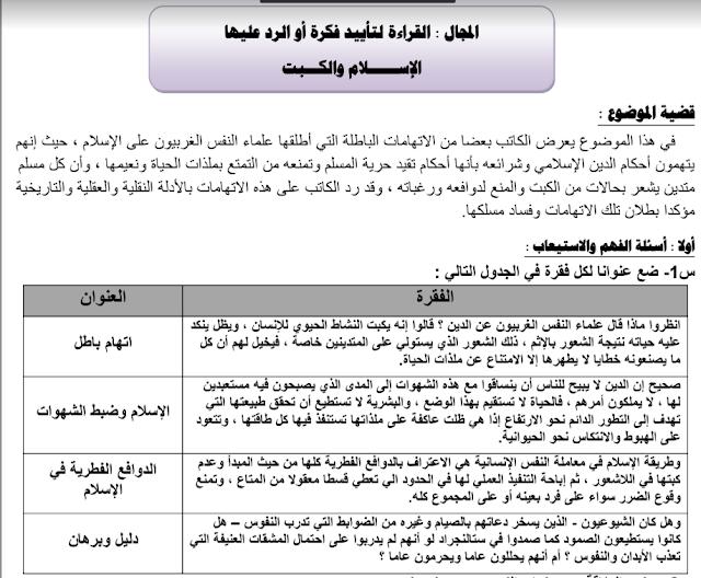 مذكرة لغة عربية الإسلام والكبت الصف العاشر الفصل الثاني ثانوية عيسى الهولي