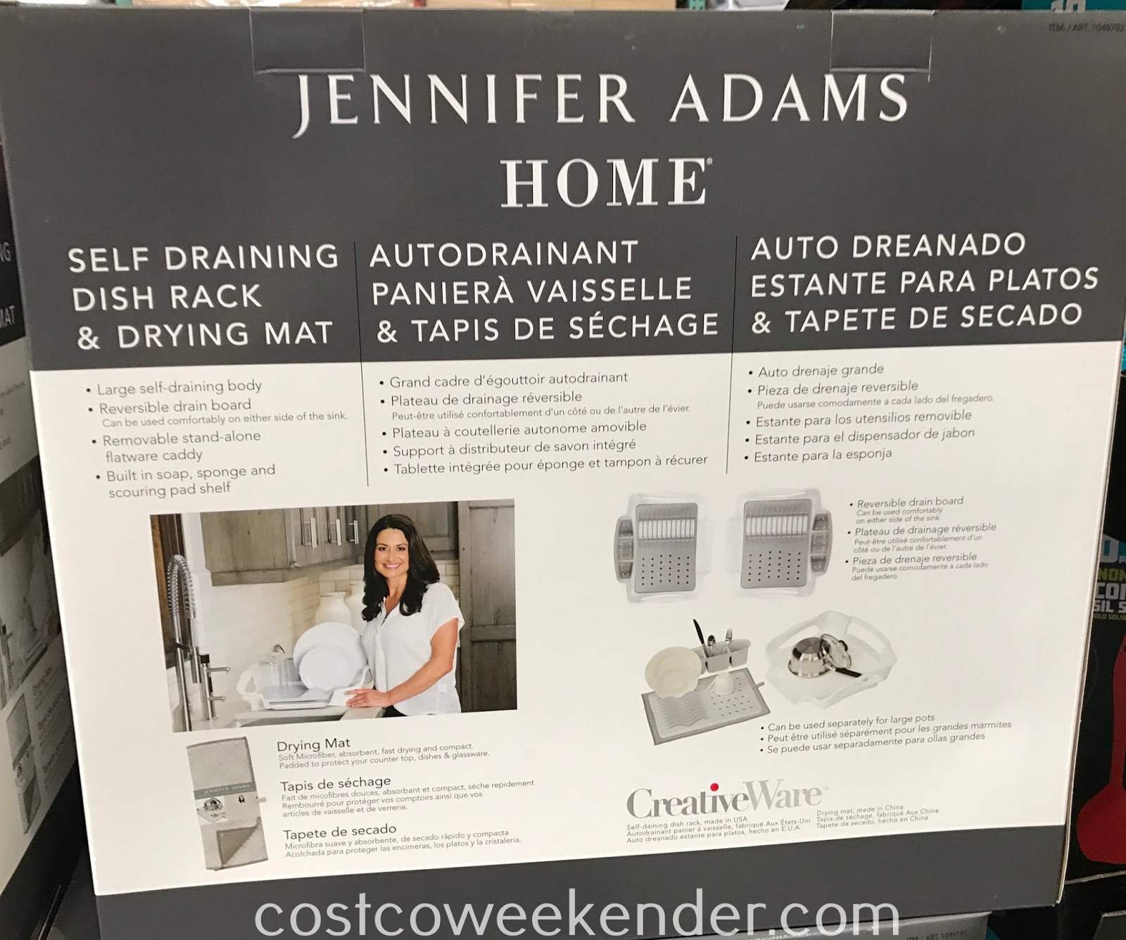 Costco 1049782 - Jennifer Adams Home Self Draining Dish Rack & Drying Mat: great for any kitchen