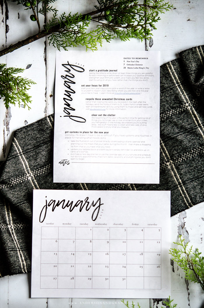 Free January Calendar and To Do List