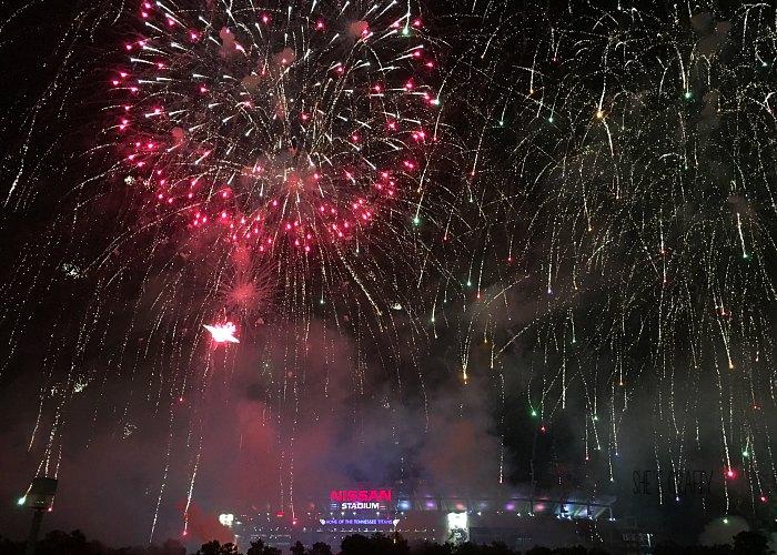 fireworks above nissan stadium