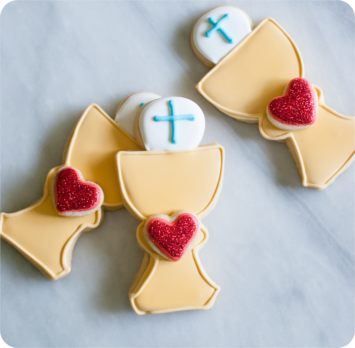 First Communion Cookies with Heart to match felt banner