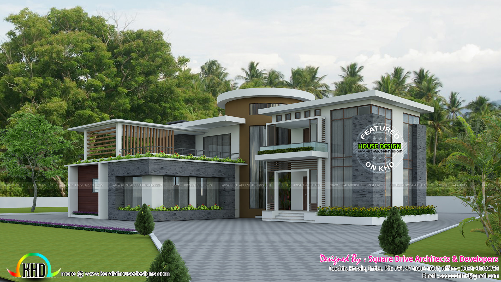 Modern round roof mix house plan kerala home design and for Round home plans