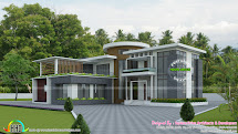 Modern Roof Mix House Plan - Kerala Home Design And