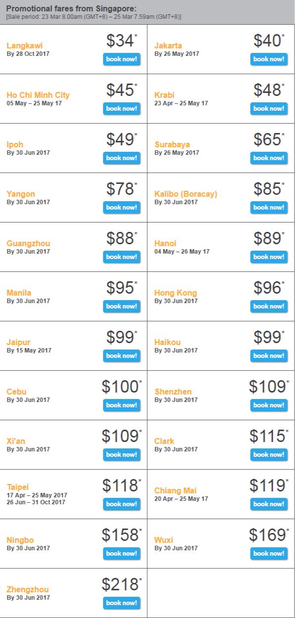 Giá vé khuyến  mãi Tiger Flash khởi hành từ Singapore