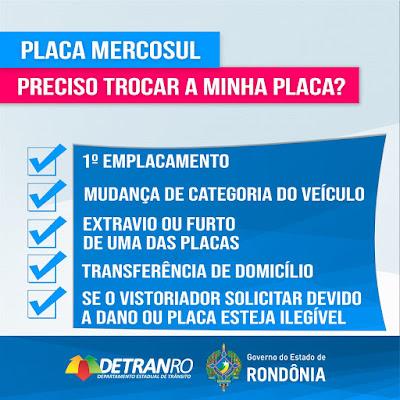 Detran Rondônia esclarece quem deve aderir à nova Placa de Identificação Veicular