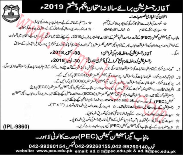 PEC Registration Forms 2019 Punjab Education Board