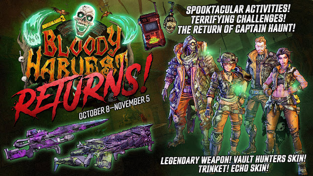 borderlands 3 bloody harvest reward loots free seasonal content update halloween event pc ps4 xb1 gearbox software 2K games