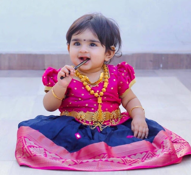 Cute Kid in Soft Silk Lehenga