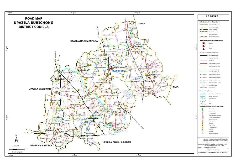 Burichang Upazila Road Map Comilla District Bangladesh