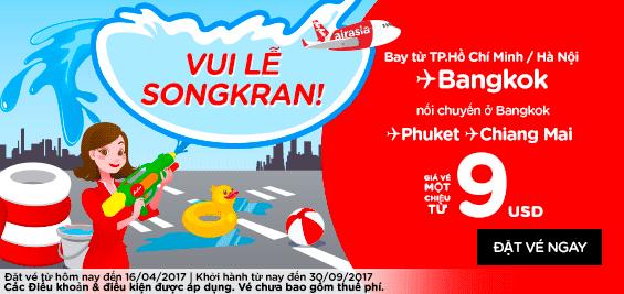 Vui lễ Songkran cùng Air Asia giá rẻ chỉ từ 9 USD