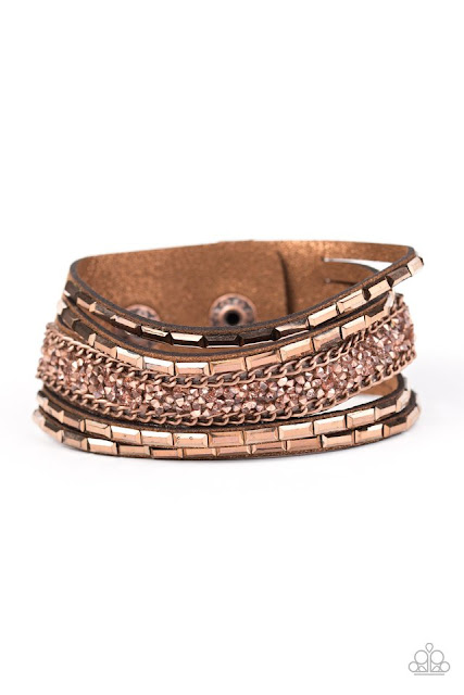 rose gold brown cuff leather bracelet paparazzi jewelry