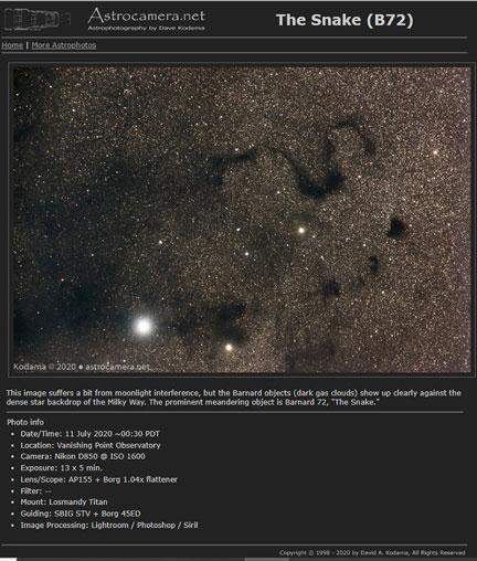 Great view of the Snake (Barnard 72) (Source: OCA Dave K., https://astrocamera.net/)