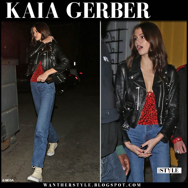 Kaia Gerber in black leather jacket re/done and jeans model casual outfit december 12