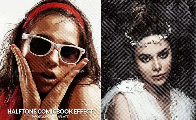 Halftone Comcbook Photo Effect Template