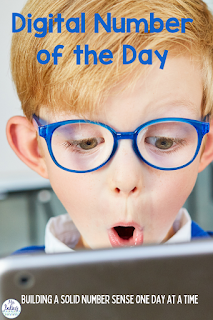 Build solid number sense skills with Number of the Day.  This digital daily math helps students build important number sense skills so they they can work fluently with numbers.  Skills include recognizing and writing numbers, place value, missing numbers and basic addition and subtraction.