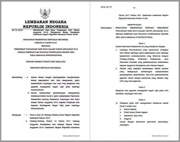 Peraturan Pemerintah PP Nomor 20 Tahun 2018 tentang Pemberian THR (Tunjangan Hari Raya) dalam Tahun Anggaran 2018 kepada Pimpinan dan Pegawai Nonpegawai Negeri Sipil pada Lembaga Nonstruktural
