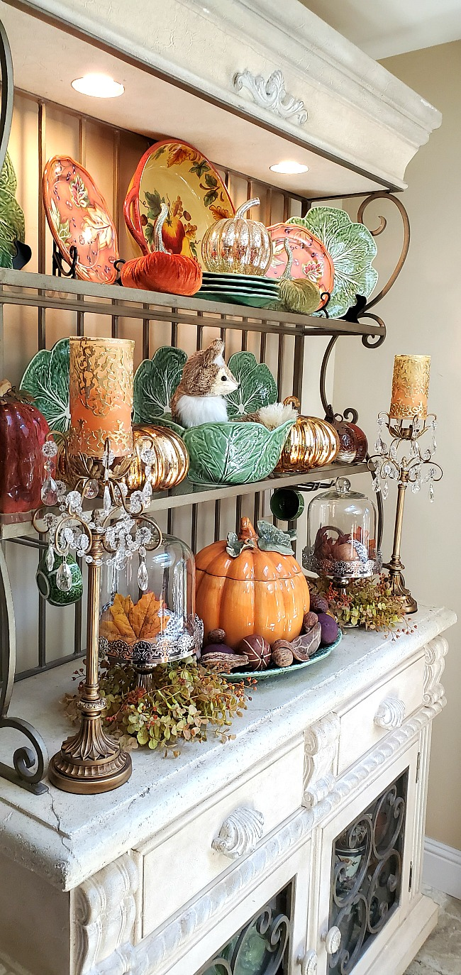 my baker's rack full of fall decor.