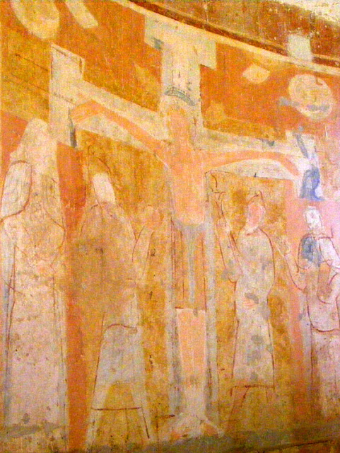 12C crucifixion wall painting in the Chapelle de Plaincourault, Indre, France. Photographed by Susan Walter. Tour the Loire Valley with a classic car and a private guide.