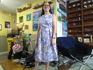 Classic Dress in blue poplin, front view