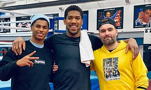 Marcus Rashford takes rare break from Manchester United training to pose with Anthony Joshua ahead of Brit's crucial rematch with Andy Ruiz Jr