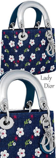 Mini blue denim Lady Dior cannage bag embroidered with metallic flowers #brilliantluxury