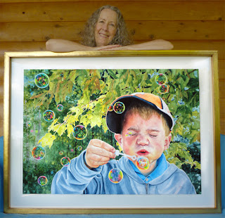 """Artist Judy Lavoie and her watercolor """"What A Wonderful World"""" © 2020"""