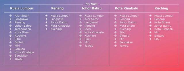 Hanya RM399 untuk menebus penerbangan tanpa had ke 16 destinasi di seluruh Malaysia