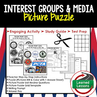 Interest Groups, Media, Civics Test Prep, Civics Test Review, Civics Study Guide, Civics Interactive Notebook Inserts, Civics Picture Puzzles