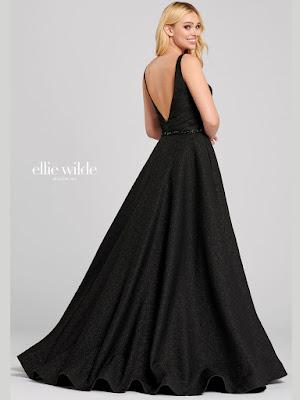 Ellie Wilde A-line Black Color Prom Dress back side