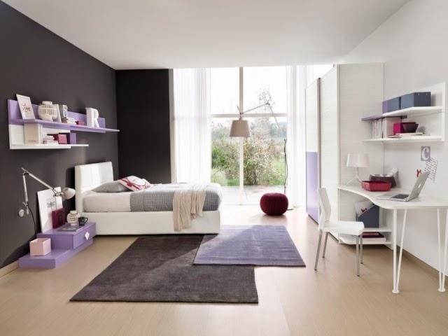 Cuarto juvenil en gris y lila   dormitorios colores y estilos